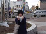 Tomomi, in front of Kushiro station